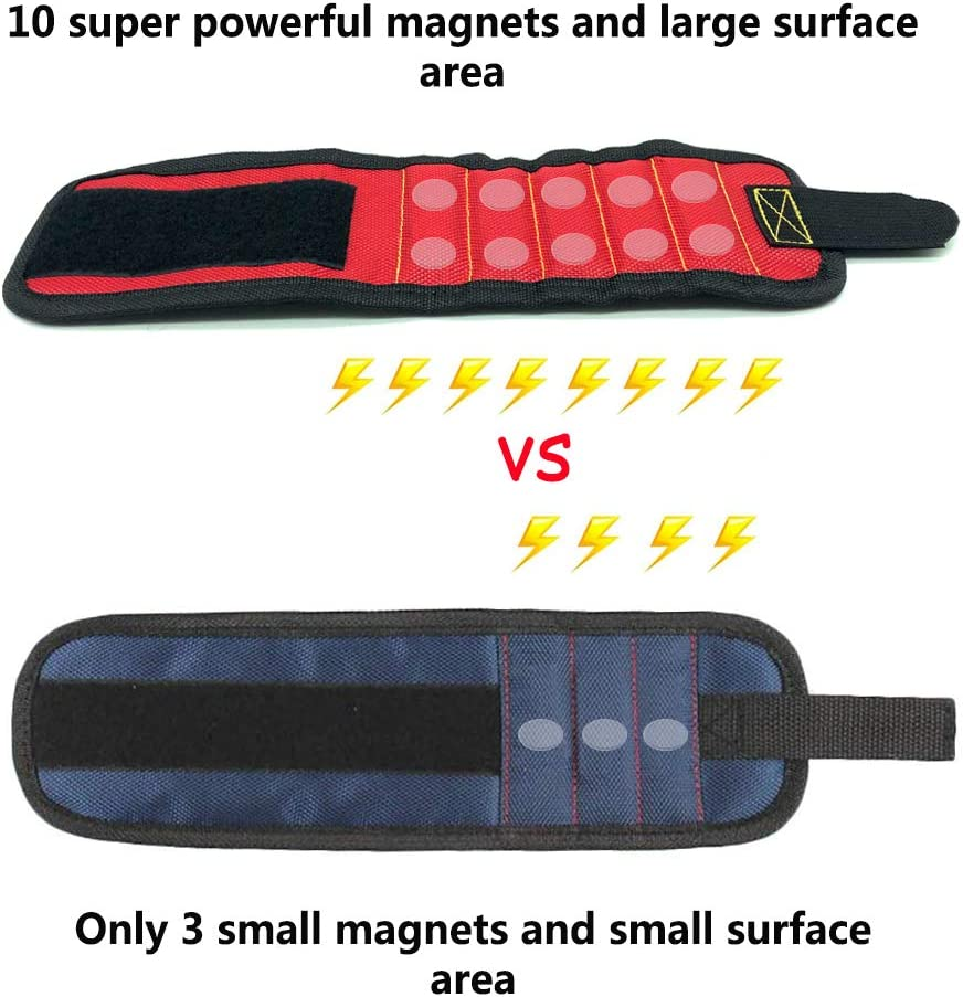 Magnetic Wristband Tools for Men 10 Upgrade Super Strong Magnets Drill Bits-red Wrist Tool Holder for Holding Screws Nails Magnetic Gadget for Man Gifts Best Dad Gift