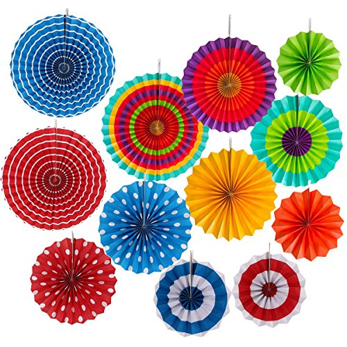 Paper Fan Decoration Set of 12 for Wedding Fiesta Birthday Carnival Kids Party Color Ceiling Hanging Round Tissue Fans (Carnival Themed Backdrop)