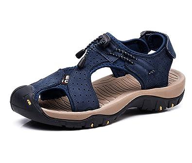 hellomiko Herren Sommer Breathable Sandalen Leder Closed-Toe Strand Sandalen Baotou Rutschfeste Outdoor-Trekking-Schuhe