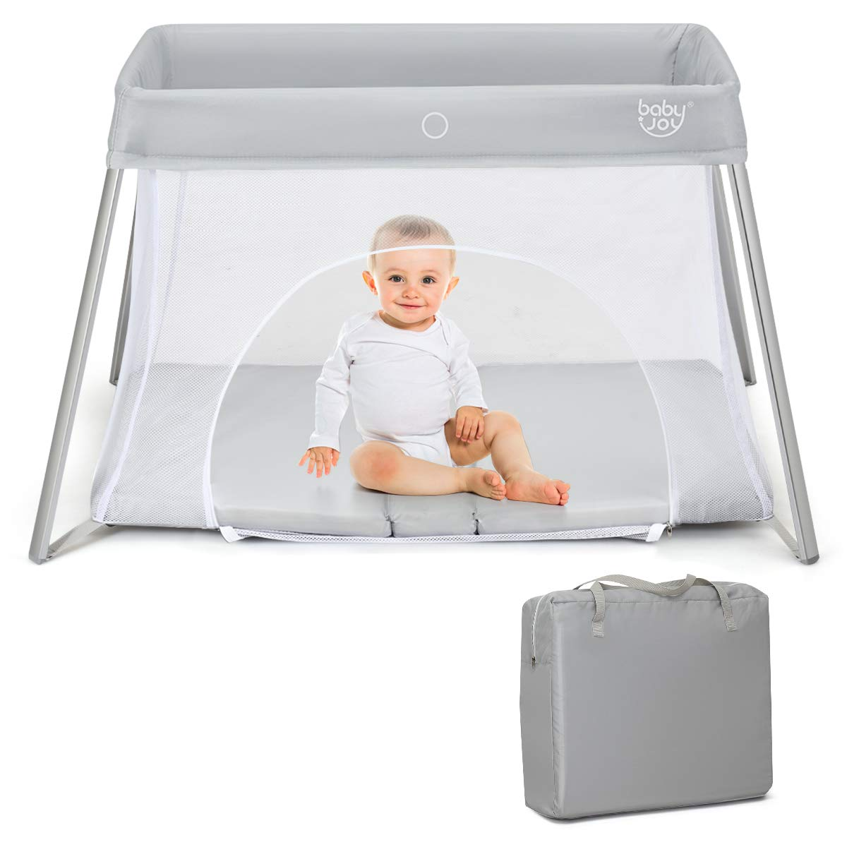 BABY JOY Baby Foldable Travel Crib, 2 in 1 Portable Playpen with Soft Washable Mattress, Side Zipper Design, Lightweight Installation-Free Home Playard with Carry Bag, for Infants & Toddlers (Sliver)