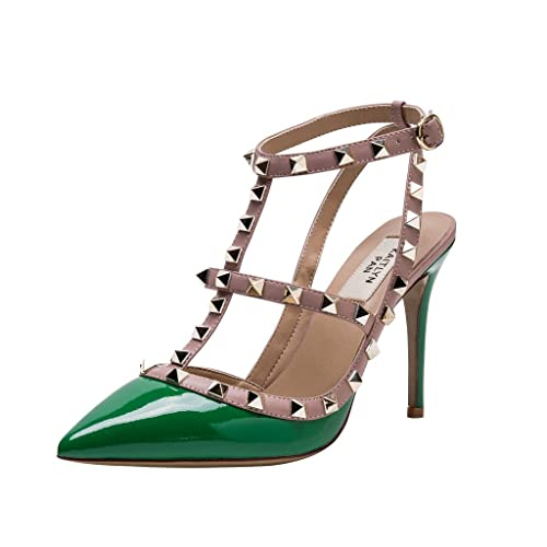 02108910f57 Kaitlyn Pan Pointed Toe Studded Strappy Slingback High Heel Leather Pumps  Sandals  Amazon.ca  Shoes   Handbags