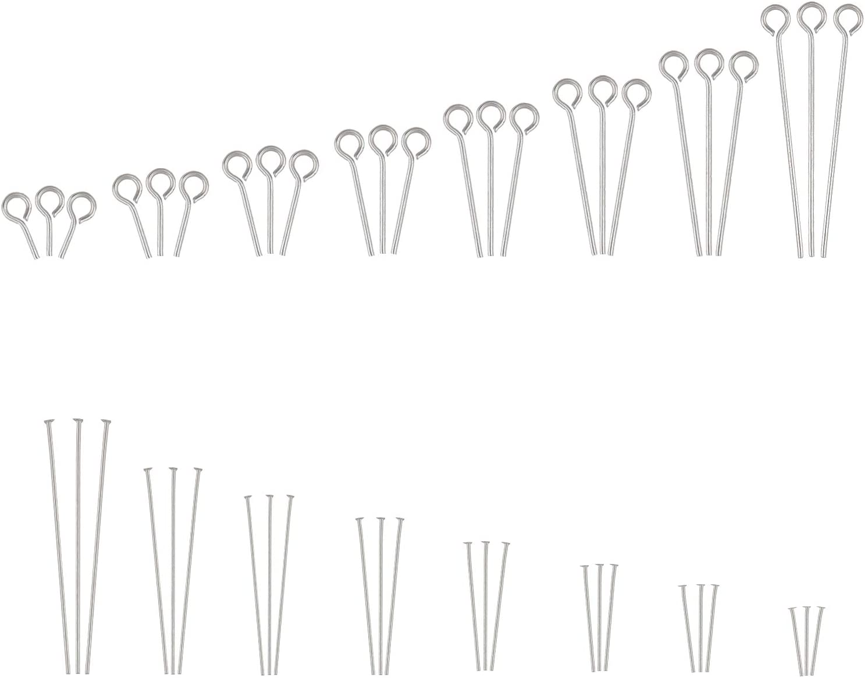 PandaHall 800 St/ück 16 Stile 304 Edelstahl /Ösennadeln Kugelkopfstifte Fundst/ücke Offene Auge Pin f/ür Ohrringe Anh/änger Schmuckherstellung Edelstahl Farbe