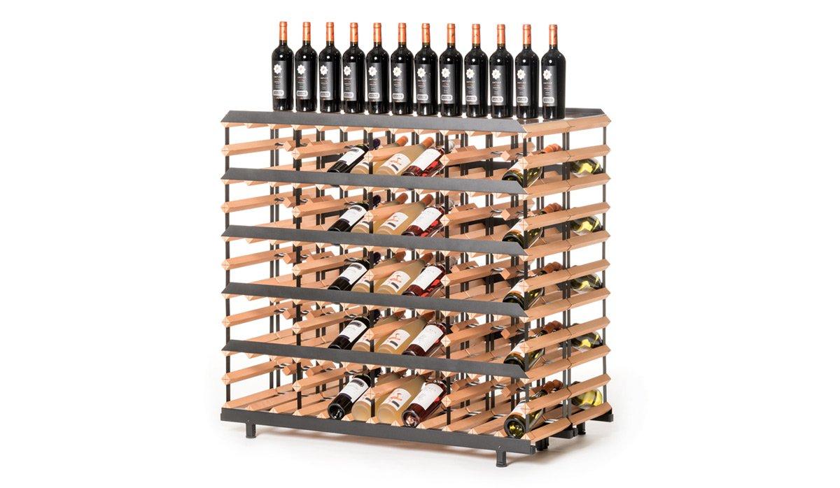 RAXI Show Getränkeregal/ Weinregal 120 Flaschen aus massiv Buchenholz für Vinotheken - Weingeschäfte - Getränkeshops