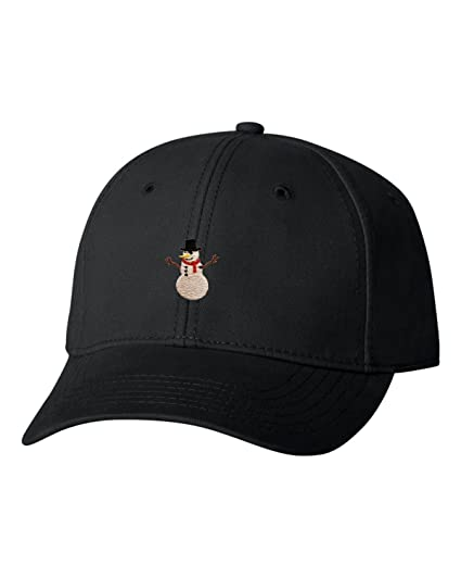 Amazon.com  Adjustable Black Adult Snowman Embroidered Dad Hat ... 9d5f4bf5c02