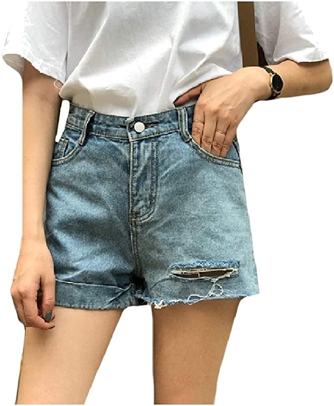 EnergyWD Women's Slim Fit High Waist Ripped Hole Cuffed Vintage Baggy Denim Jeans