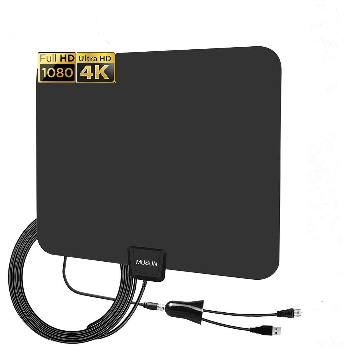 HDTV Antenna - Digital HD TV Antenna 85 Miles Range Compatible 4K 1080P Free TV Channels Powerful Detachable Amplifier Signal Booster,Longer Coax Cable