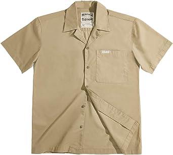 MADEN Camisa de campamento de manga corta con cuello cubano y ...