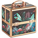 Beautify Small Jungle Professional Makeup Cosmetic Organizer Train Case 10' Lockable Storage Box with Rose Gold Handles
