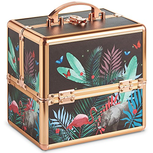 Beautify Small Jungle Professional Makeup Cosmetic Organizer Train Case 10 Lockable Storage Box with Rose Gold Handles