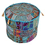 Indian Handmade Bohemian Vintage Patchwork Pouf Cover Ottoman Cover 14x22