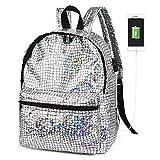 Diamond Sliver Lattice Hologram Laser School Backpack Daypack