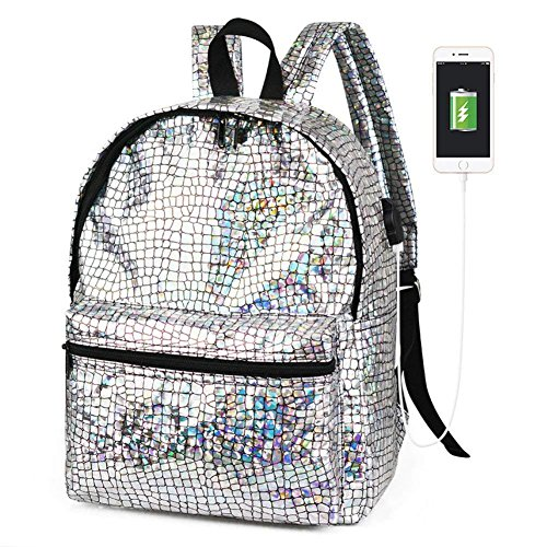 Diamond Sliver Lattice Hologram Laser School Backpack Daypack