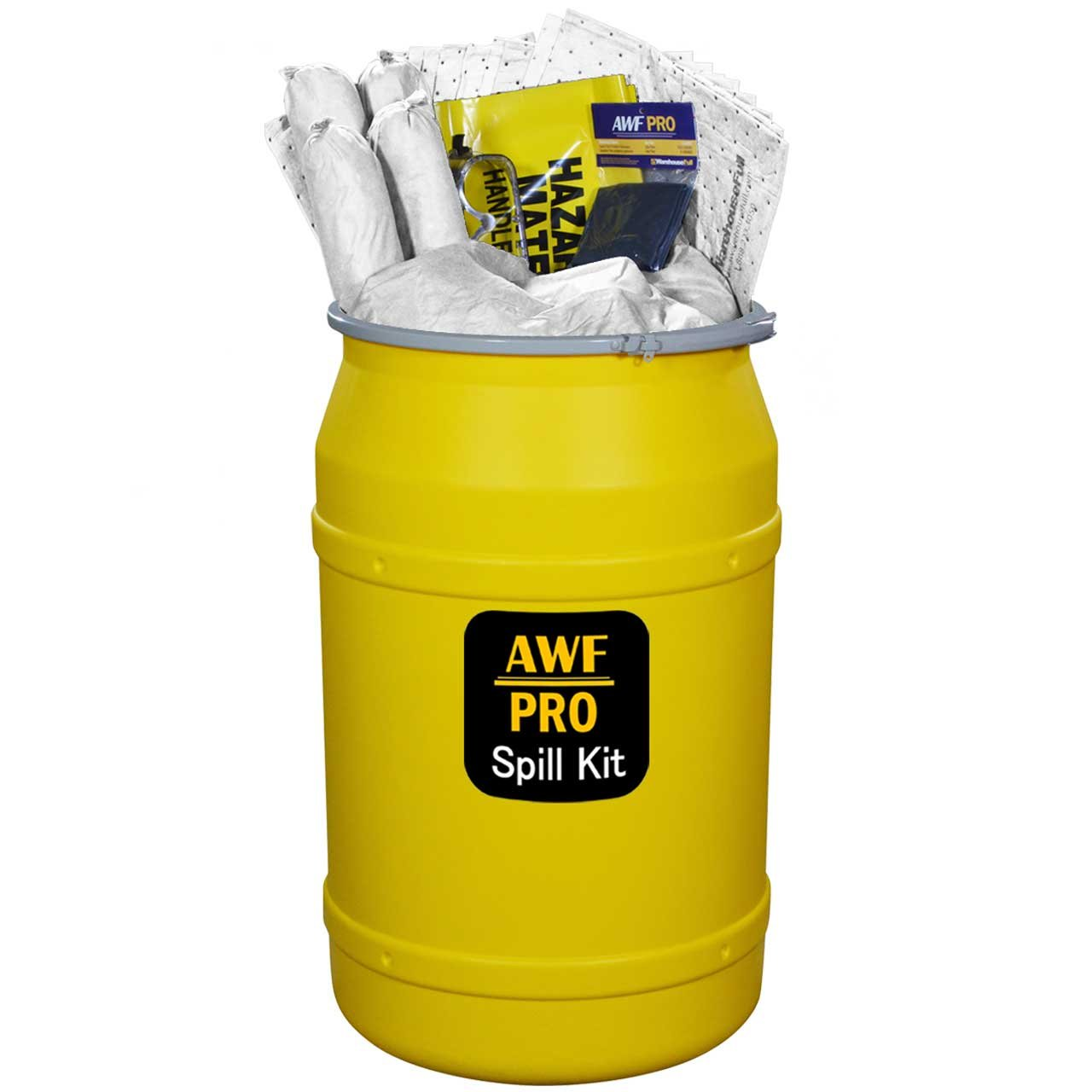 55 Gallon Oil Only Spill Kit, Pro Grade, 125 Pc: Metal Lever Lock Drum, 100 Heavy Duty Pads 15''x19'', 5 Socks 3''x12', 8 Pillows 18''x18'', Chemical Gloves, Hazmat Bags, Goggles, Guide Book, Sign