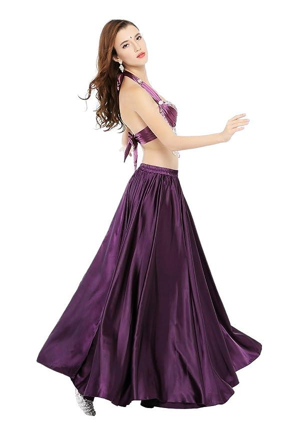 Dance Fairy morado danza del vientre satén falda larga falda de la ...