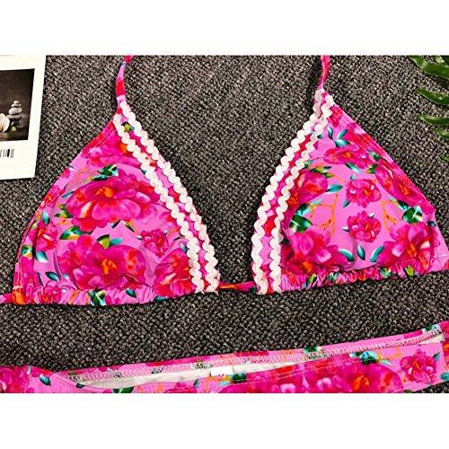 Costumi Rosa Impostato E Due Bagno Swimsuit Pezzo Costume Sexy Slip S floral Bagnarsi Bikini Nuoto Tankini Top Kootk Da Donna Spiaggia Suit wxatCqgR