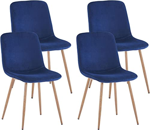 Danxee Mid-Century Side Chairs Set of 4 Dining Chairs Fabric Cushion Kitchen Chairs