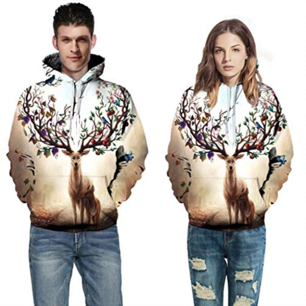 Qvwanle Wens Momen Casual Scary Halloween Print Party Long Sleeve Hoodie Sweatshirt Hooded Pullover Top Blouse (XXXL, Beige)