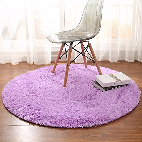 Junovo Super Soft Thick Anti-Skid Fluffy Round Children Area Rug for Living Room Bedroom Kids Room Nursery,4-Feet,Purple (Little Children Rug)