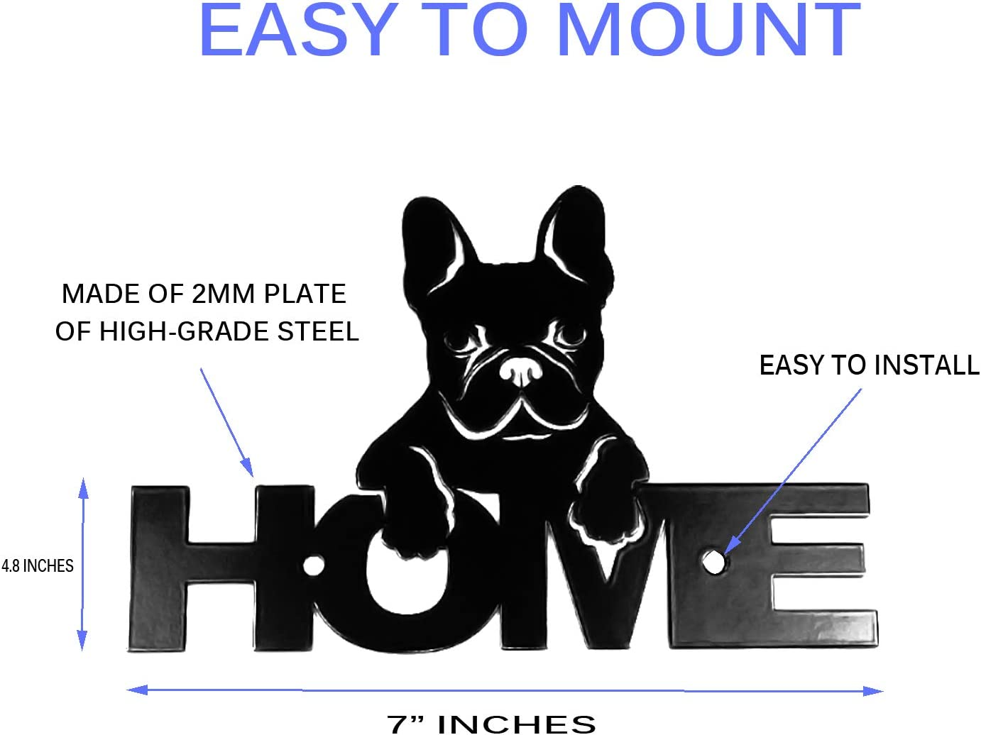 French Bulldog Handcrafted Metal Welcome Sign black silhouette Made in the USA