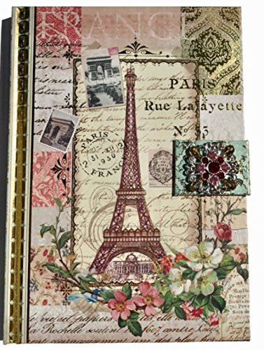 Punch Studio Journal Voyage à Paris Jeweled Brooch Embellished Gold Foil Arts Collection Diary