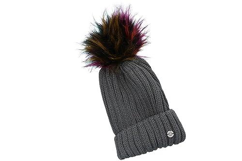 Sombrero mujer GIANMARCO VENTURI gorra con pompon y solapa 100% acrílico