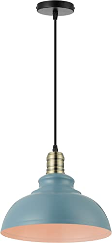 KWOKING Lighting Industrial Barn Pendant Light Chandelier Hanging Lamp 15.75″ Wide Metal Ceiling Fixture