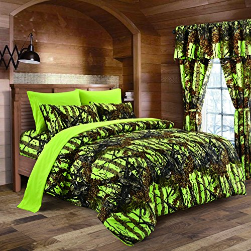 - Lime Camouflage Queen Size 8pc Comforter, Sheet, Pillowcases, and Bed Skirt Set - Camo Bedding Sheet Set for Hunters Teens Boys and Girls