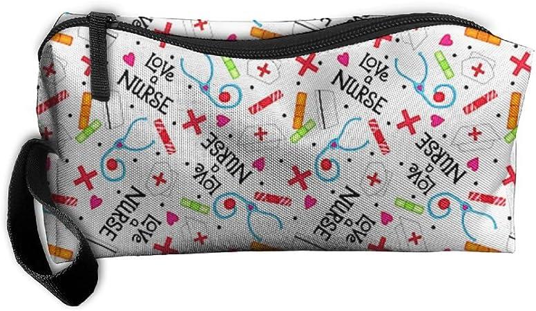 Enfermera encantador blanco estuche para lápices grande capacidad pluma bolsa Maquillaje bolsa Durable estudiantes papelería bolsa Zipper Bag, lápices, rotuladores fluorescentes, bolígrafo de Gel, marcadores: Amazon.es: Hogar