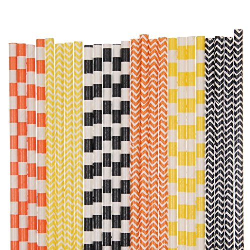 Orange, Black and Yellow Paper Straw Mix - Striped, Chevron (100)