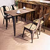 Merax Antique Indoor-Outdoor Rectangular Dining Table, Metal Legs/ Table only/Distressed Black