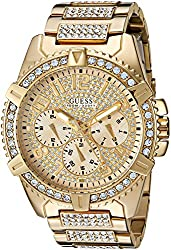 GUESS Men's U0799G2 Sporty Gold-Tone Stainless Steel Watch with Multi-function Dial and Deployment Buckle