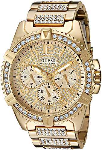GUESS  Stainless Steel Gold-Tone Crystal Embellished Bracelet Watch with Day, Date + 24 Hour Military/Int'l Time. Color: Gold-Tone (Model: U0799G2) (Guess Black Diamond Accent Watch)