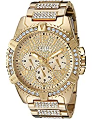 GUESS Mens Stainless Steel Multifunction Crystal Accented Watch, Color: Gold-Tone (Model: U0799G2)