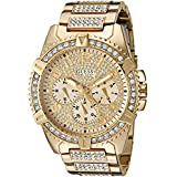 GUESS Men's U0799G2 Sporty Gold-Tone Stainless