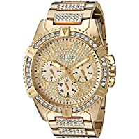 GUESS Men's Stainless Steel Multifunction Crystal Accented Watch, Color: Gold-Tone (Model: U0799G2)