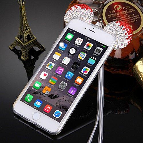 Phone Taschen & Schalen Für iPhone 6 Plus & 6s Plus Maus Ohr Diamant Muster Transparent TPU Schutzhülle mit Lanyard & Spiegel ( Color : Red )