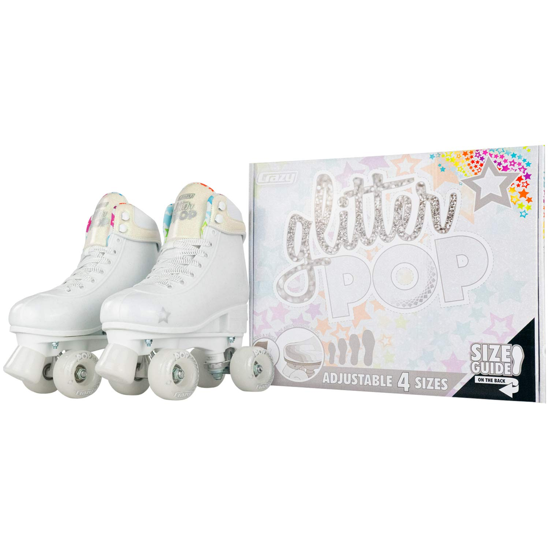 Crazy Skates Glitter POP Adjustable Roller Skates for Girls and Boys | Size Adjustable Quad Skates That Fit 4 Shoe Sizes | White (Sizes jr12-2) by Crazy Skates (Image #5)