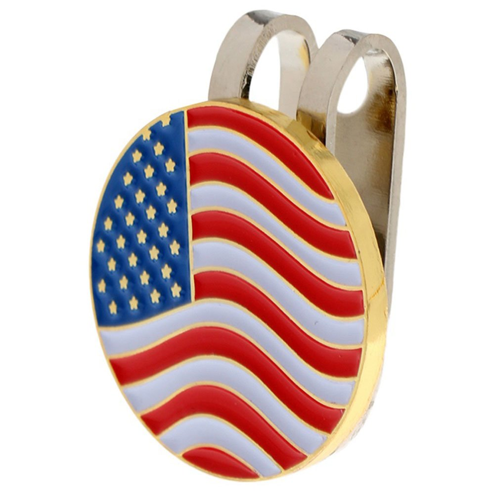LBgrandspec アメリカ国旗 ゴルフボール エイミング マーカー マグネット付き 帽子 キャップ クリップ トレーニング補助具 - 米国旗   B07FR967PT