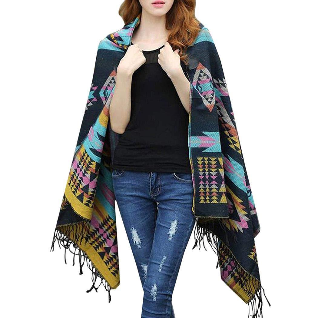 Alisena Women Autumn Winter Warm Bohemian Print Blanket Poncho Hoodie Cape Shawl Cloak with Tassels