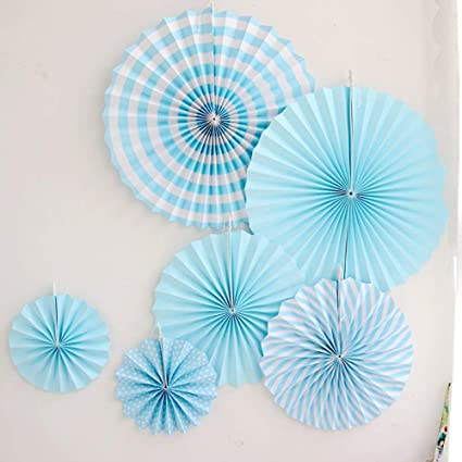 Daily Mall 12Pcs Art Craft DIY Tissue Paper Fan Hanging Party Wedding Fan  Decorations Birthday Kids Party Supplies (Blue Set)