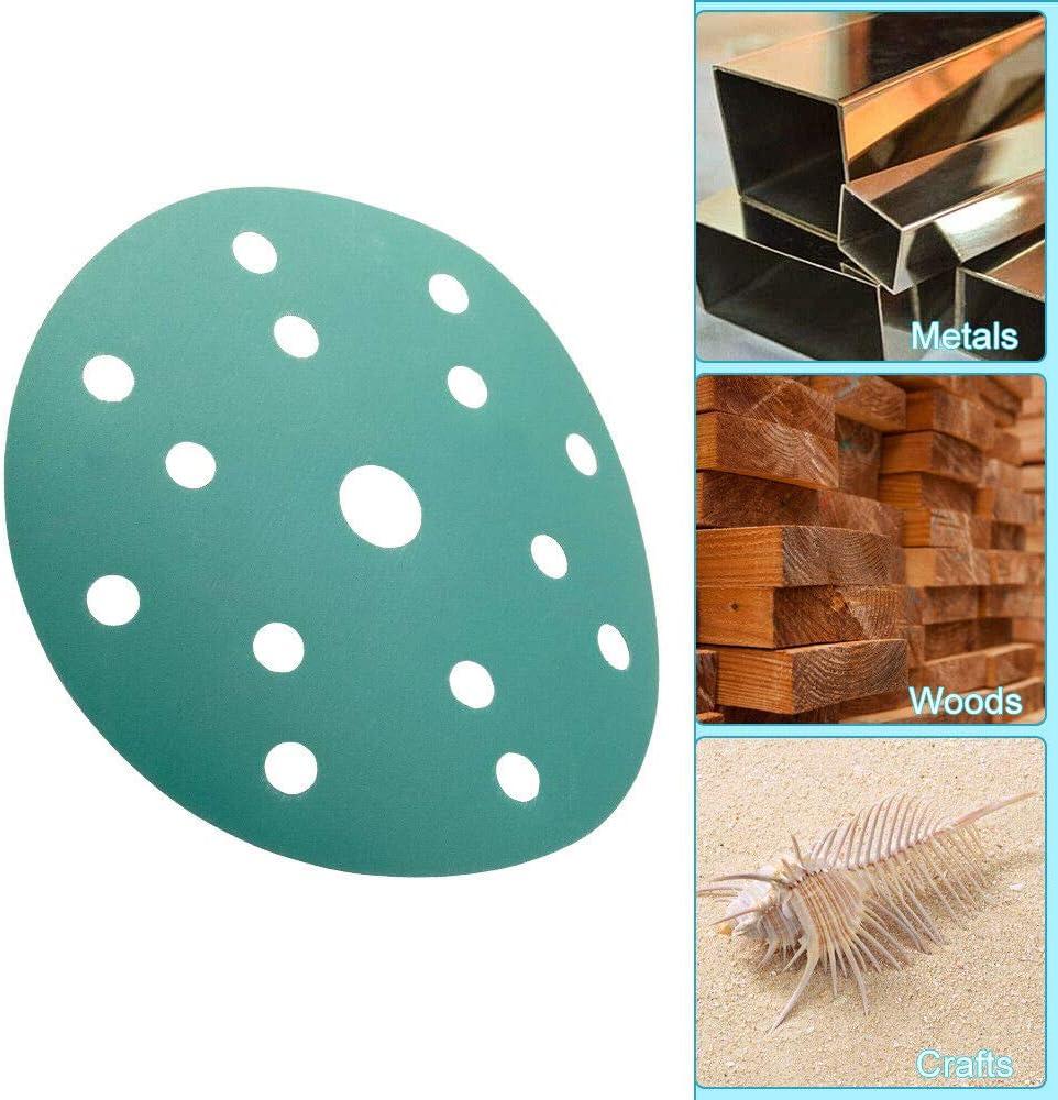 SENRISE Lot de 10/disques de papier abrasif avec 15/trous et grain 80-800 pour poncer le bois la peinture le vernis et le mastic. le m/étal vert