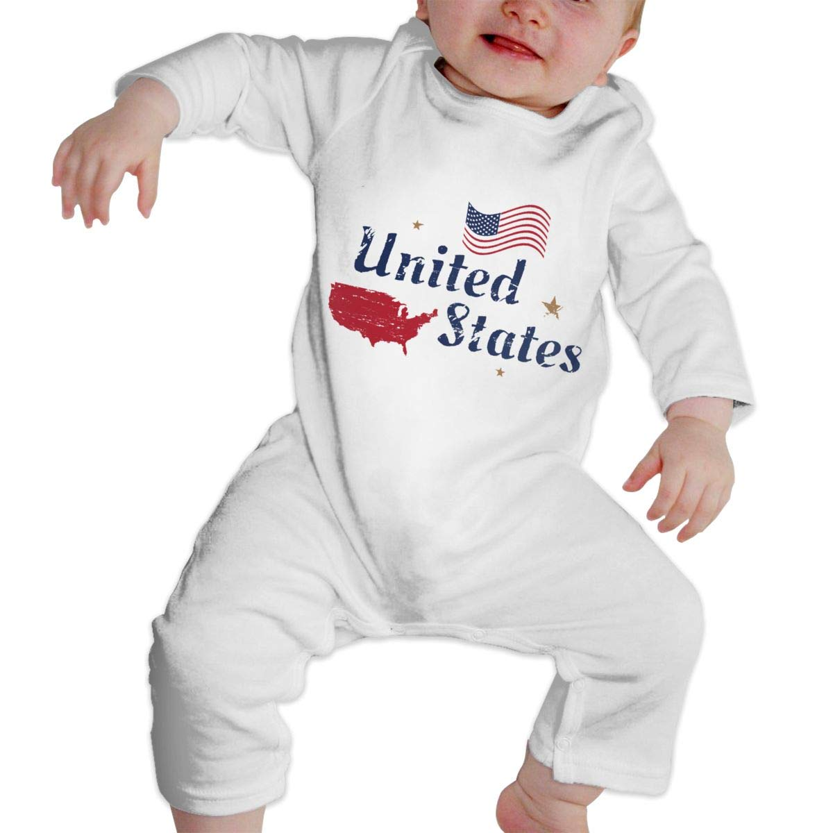 Fasenix USA Retro Style American Flag Map Newborn Baby Boy Girl Romper Jumpsuit Long Sleeve Bodysuit Overalls Outfits Clothes