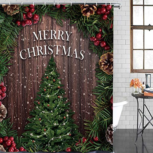 BMALL Customize Shower Curtain for Bathroom, Christmas Tree with Pine Cones and Berries Waterproof Polyester Fabric Shower Rings Included 66x72 Inches (Pine Cone Fabric Shower Curtain)