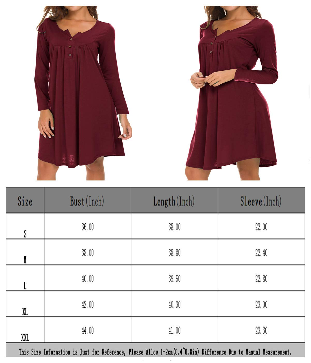 Eanklosco Long Sleeve Swing Dress Women Casual Loose Henley Shirt Dress (Wine Red, 2XL)