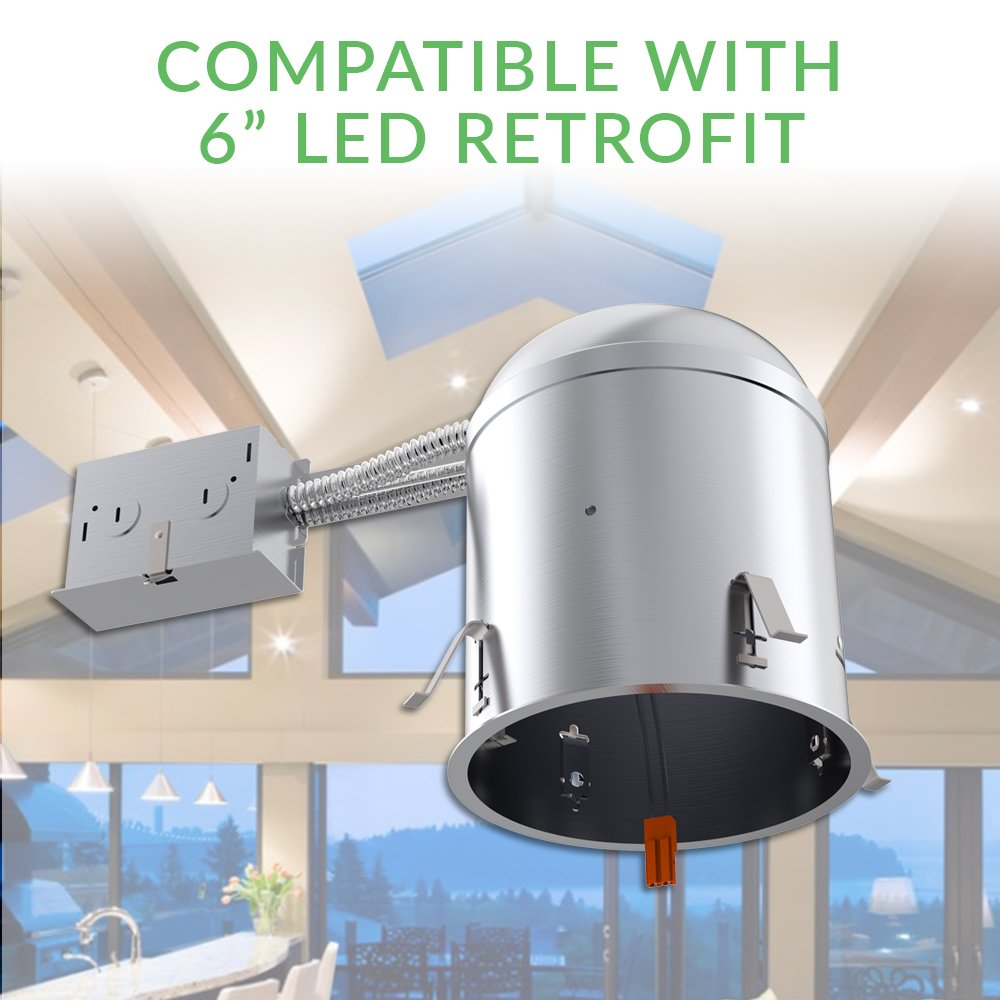 Sunco Lighting 6 PACK - 6'' inch Remodel LED Can Air Tight IC Housing LED Recessed Lighting- UL Listed and Title 24 Certified, TP24 by Sunco Lighting (Image #3)