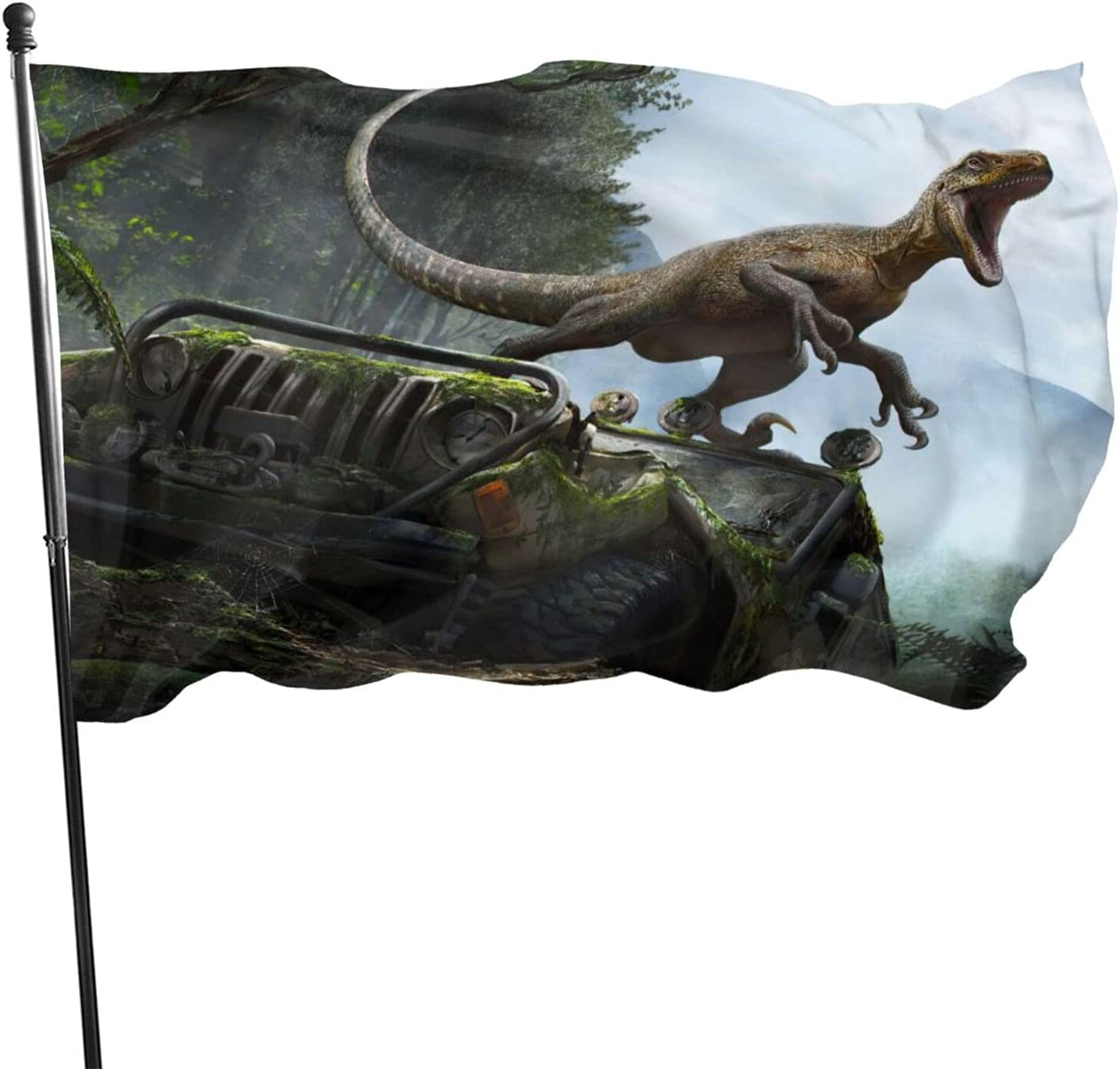 JimmySaechao Jurassic Park Flag 3x5 Ft Decor Wall Banner Poster Garden Banner Decorative Outdoor Indoor Fashion Banner Flag for College Dorm Room Decor Outdoor Parties Gift Tailgates Flags