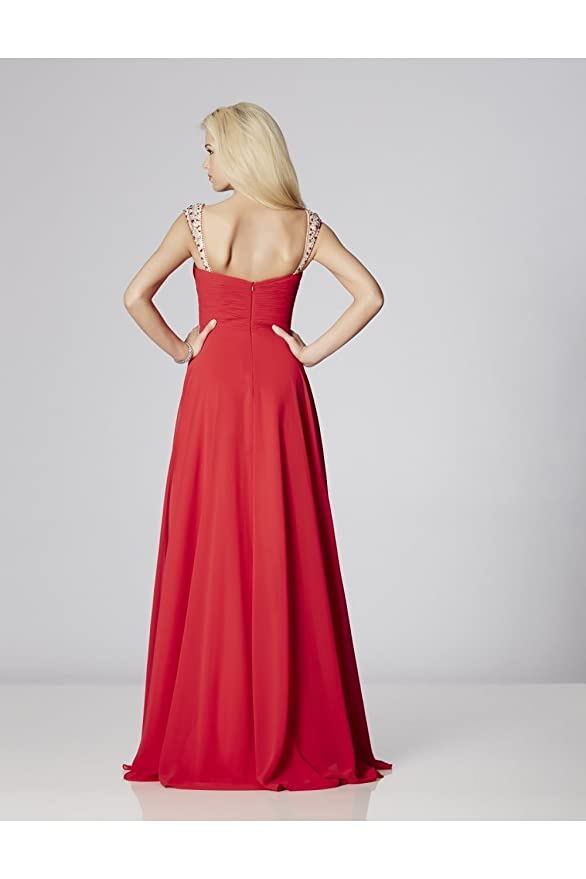 Tiffanys Illusion Prom Red Sonia Chiffon Dress with Crystal Straps UK 6 (US 2): Amazon.co.uk: Clothing
