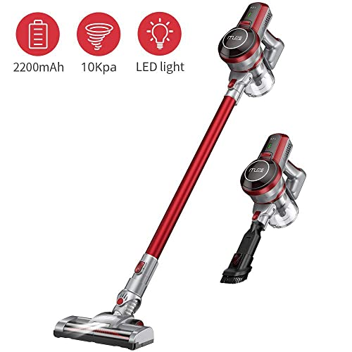 Hardwood Floor Vacuum Cleaner Cordless, Muzili Carpet Vacuum Sweeper Bagless, Stick Lightweight Portable Vacuum Cleaner for Home, Pet Hair with Rechargeable Battery, LED Motorized Brush, Power Suction