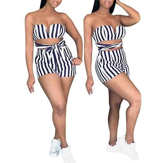 4debcc14d0d4 Amazon.com  COOKI Rompers and Jumpsuits for Women Ladies Sexy Striped  Bandages High Waist Shorts Summer Beach Jumpsuits Rompers Outfits  Clothing