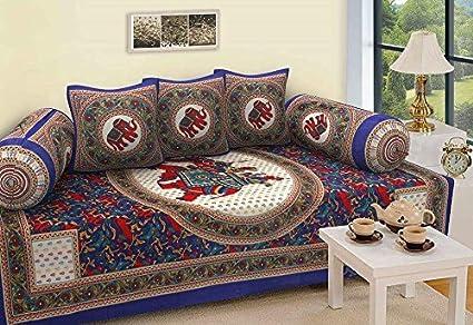STOP N SHOPP Cotton Jaipuri Diwan Set (Multicolour, Standard)